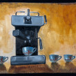 Stock Photo: Oil painted coffee machine with cups