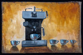 Oil painted coffee machine with cups — Stock Photo