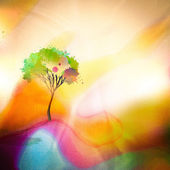Splashed tree on watercolored background — Stock Photo