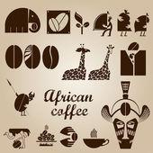 African coffee design set — Stock Vector