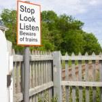 Railway Level Crossing Sign — Stock Photo