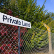 Stock Photo: Private Land Notice