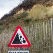 Danger Unstable Cliff Sign — Stock Photo