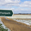 Footpath Sign in Winter — Stock Photo