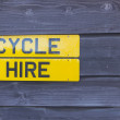 Stock Photo: Cycle Hire Sign