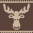 Stock Vector: Brown knitted deer sweater