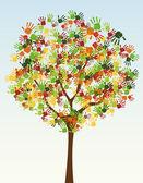 A tree of child handprints — Stock Vector