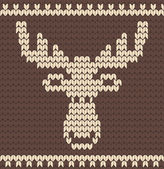Brown knitted deer sweater — Vetor de Stock