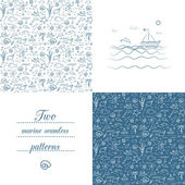 Seamless marine patterns — Stock Vector