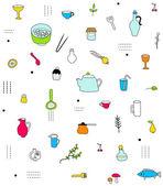 Kitchen accesories pattern — Stock Vector