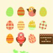 Royalty-Free Stock Vektorgrafik: Happy easter eggs & baby owls
