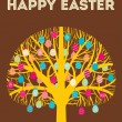 Royalty-Free Stock Vector Image: Yellow Happy Easter tree greeting card with eggs in warm colours. Vector Illustration