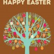 Royalty-Free Stock Vektorgrafik: Happy Easter tree greeting card with eggs in warm colours