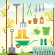 Cute spring gardening set — Stock Vector