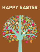Happy Easter tree greeting card with eggs in warm colours — Stock Vector