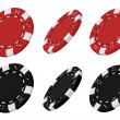 3d rendered red and black casino chips from different angles — Stock Photo #23685755
