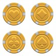 Sets of 3d rendered gold casino chips — Stock Photo #23685833