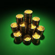 Large group of gold poker chips on green — Stock Photo