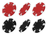 3d rendered red and black casino chips from different angles — Stock Photo
