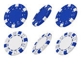 3d rendered blue and white casino chips from different angles — Stock Photo