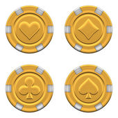 Sets of 3d rendered gold casino chips — Stock Photo