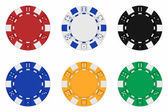 Sets of 3d rendered colored casino chips — Stock Photo