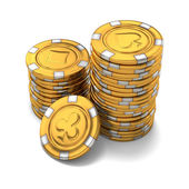 Small group of gold poker chips on white — Stock Photo