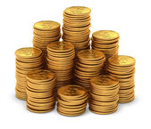 Large group of gold usa dollar coins on white — Stock Photo