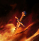 3D illustration of a medieval sword in fire — Stock Photo