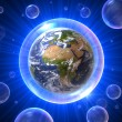 Stock Photo: Bubbles universe with Afric- Europe - Middle East