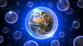 Universo de bolhas com áfrica - europa - oriente médio — Foto Stock