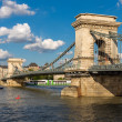 The Chain Bridge in Budapest under a blue cloudy sky — Stock Photo