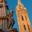Matthias Church and the Trinity statue in Budapest — Stock Photo