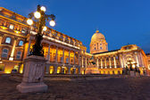 The Buda Castle in Budapest with a streetlight — Stock Photo