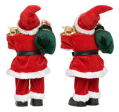 Little funny Santa Claus doll from two aspects back view — Stock Photo