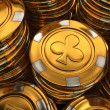 Close up 3D illustration of gold casino chips stack — Stock Photo