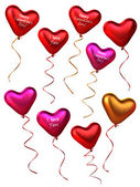 3D Collection of heart shape balloons — Stock Photo