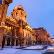 Snowy Buda Castle in Budapest under a foggy blue sky — Stock Photo