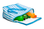 Open blue striped cooler bag with three cool refreshing drinks — Stock Photo
