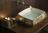 Modern Bathroom Sink with tiger pattern — Stock Photo