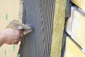 Toepassing van coating over isolatie — Stockfoto