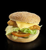 Hamburger on a black background — Stock Photo