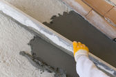 Laying of floor coating — Stock Photo