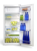 Open fridge with fruits and vegetables — Stock Photo