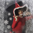 Pretty young woman in Santa Claus clothes — Stok fotoğraf