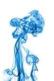 Abstraite fumée bleue isolée sur fond blanc — Photo