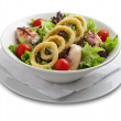 Stock Photo: Healthy salad with onion rings and grilled chiken