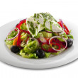 Healthy vegetable salad with white cheese — Stock Photo