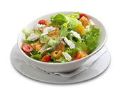 Healthy salad with smoked salmon,cheese,corn,cherry tomato — Stock Photo