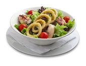 Healthy salad with onion rings and grilled chiken — Stock Photo